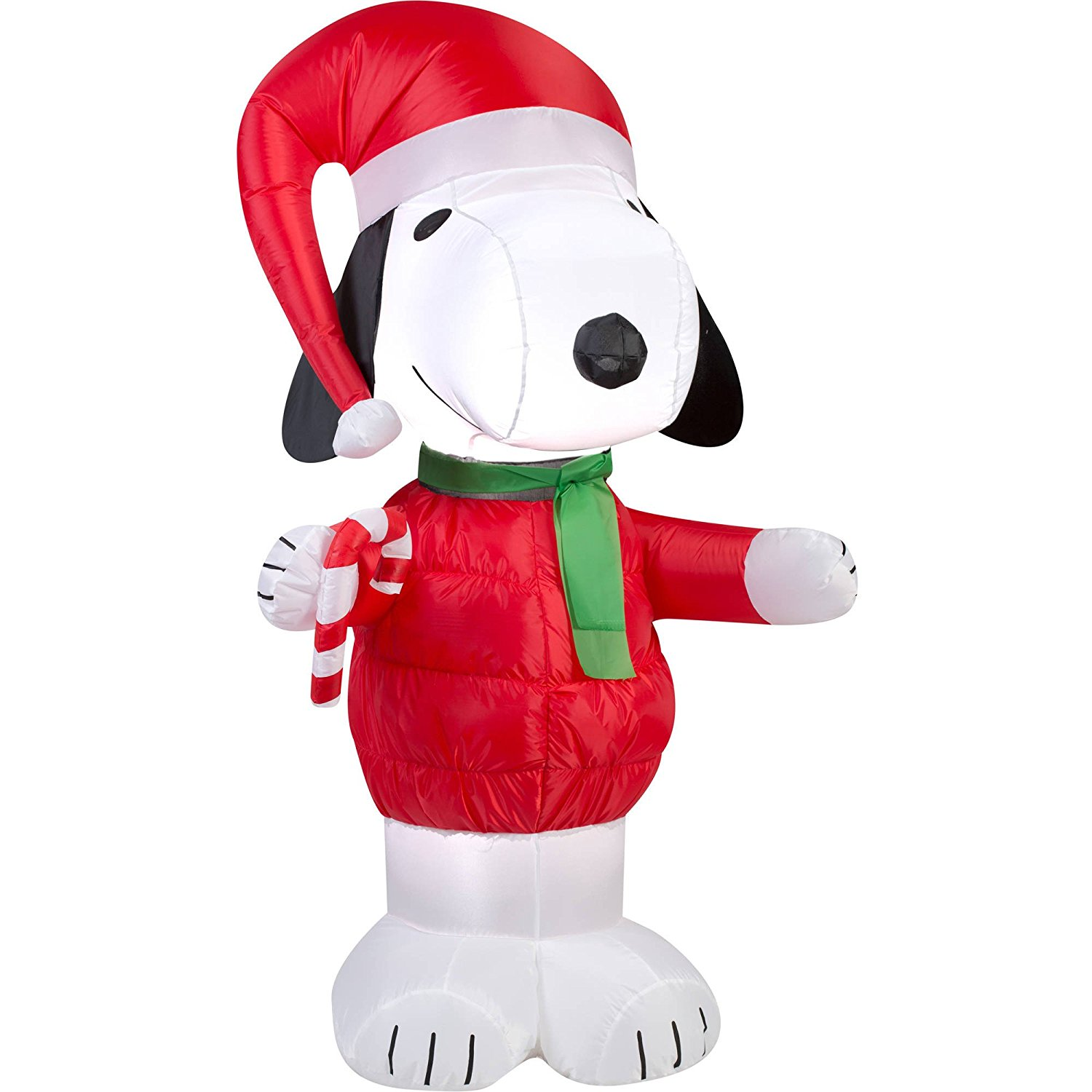 Peanuts Chirstmas Snoopy with Candy Cane Blowup Inflatable Lawn ...
