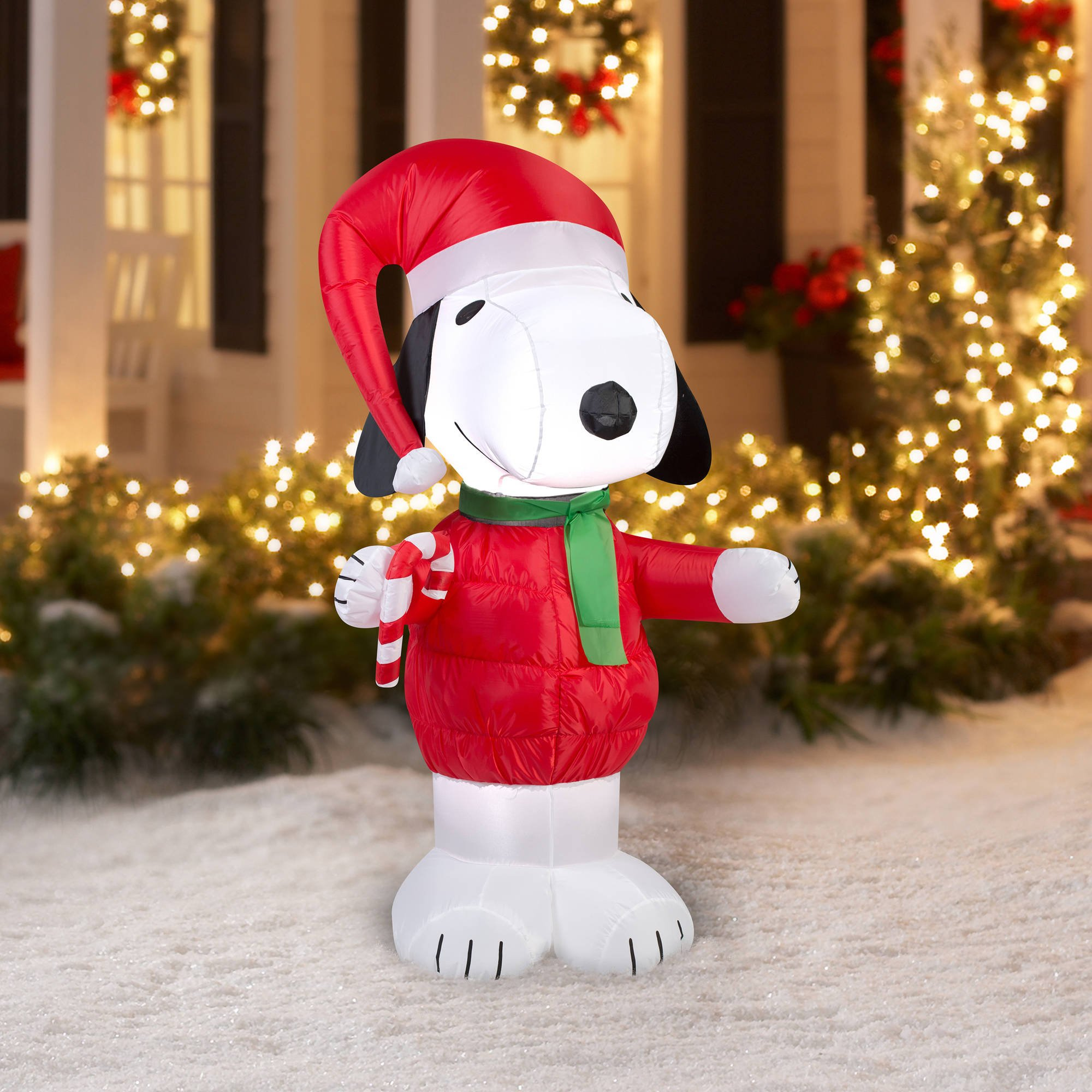 peanuts chirstmas snoopy with candy cane blowup inflatable lawn decoration price 2158